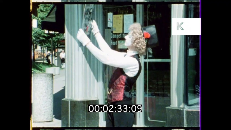 1970s 1980s USA Mime Artist Trying to Read Map 16mm