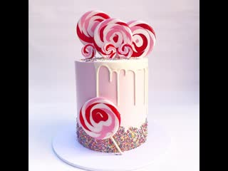 "Простой декор торта с lollipop (леденцами на палочке). / наша группа в онтакте ""ultracakes""."