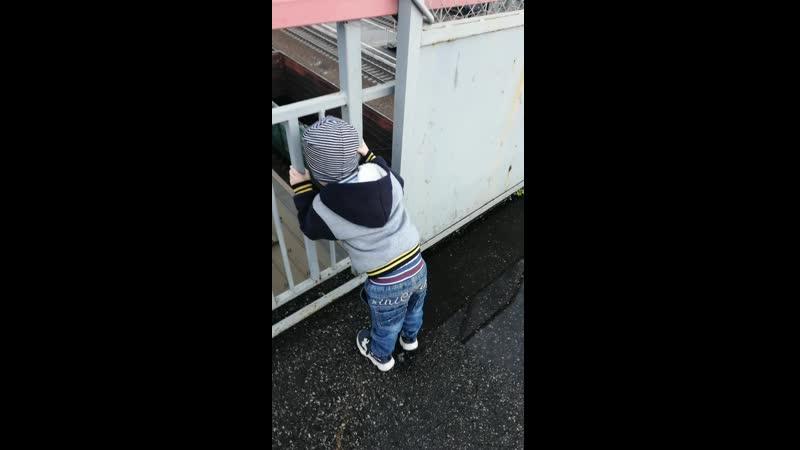 Прогулка Саши ж/д вокзал ГРЕС Мыски