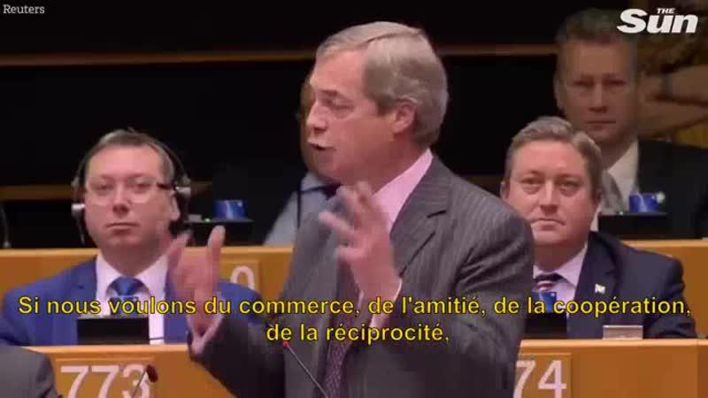 Nigel Farage nous aimons l'Europe mais nous haïssons lUE cest un mauvais projet