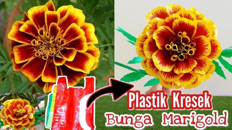 Cara membuat bunga Marigold dari plastik kresek | Diy how to make marigold flower with plastic bags