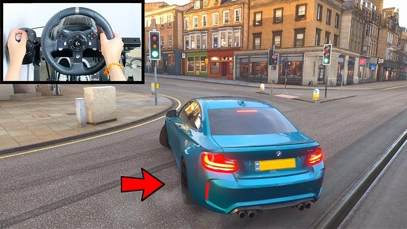 Forza Horizon 4 Drifting BMW M2 Steering Wheel Shifter Gameplay Gaming Setup