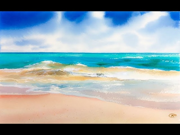 Turquoise Beach in Watercolors Painting Tutorial