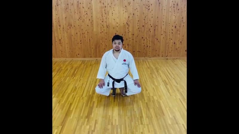 Cvičení na Kiba tachi postoj jezdce s Kime výbušná kontrakce