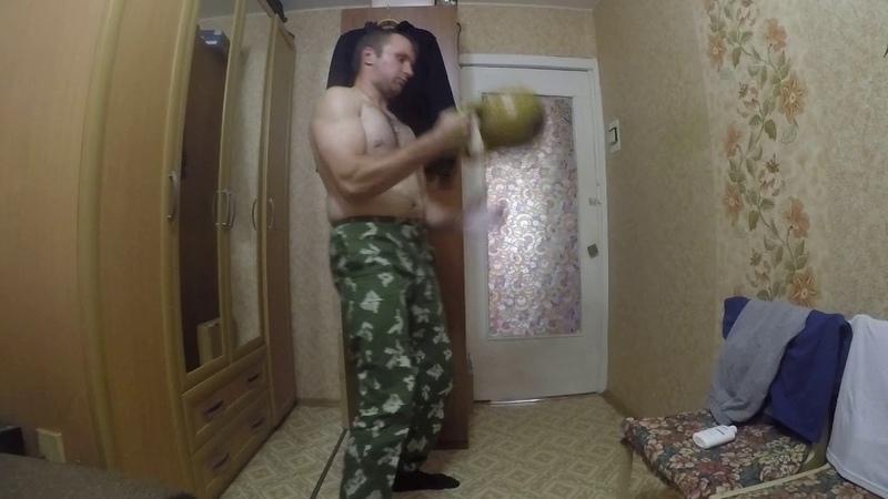 Попытка усложненного варианта трюка Дмития Халаджи с гирей 16 кг 2