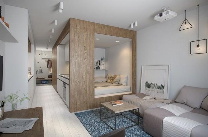 Интересно обыграли дизайн квартиры - студии, 30 кв.