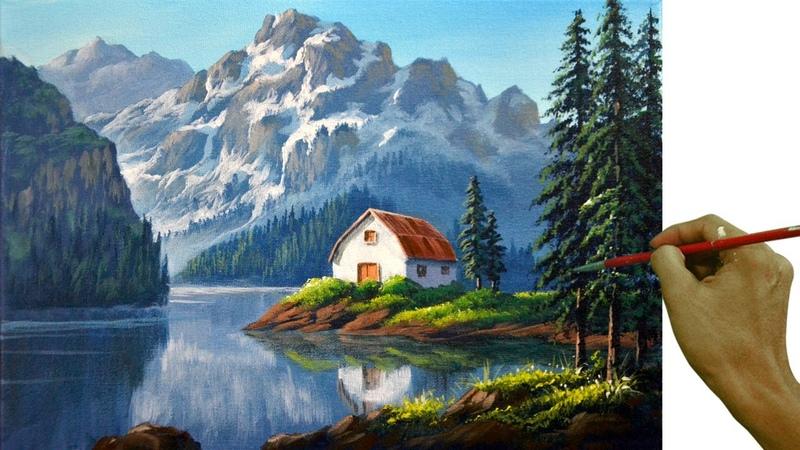 Acrylic Landscape Painting in Time lapse White Barn in the Lake JMLisondra