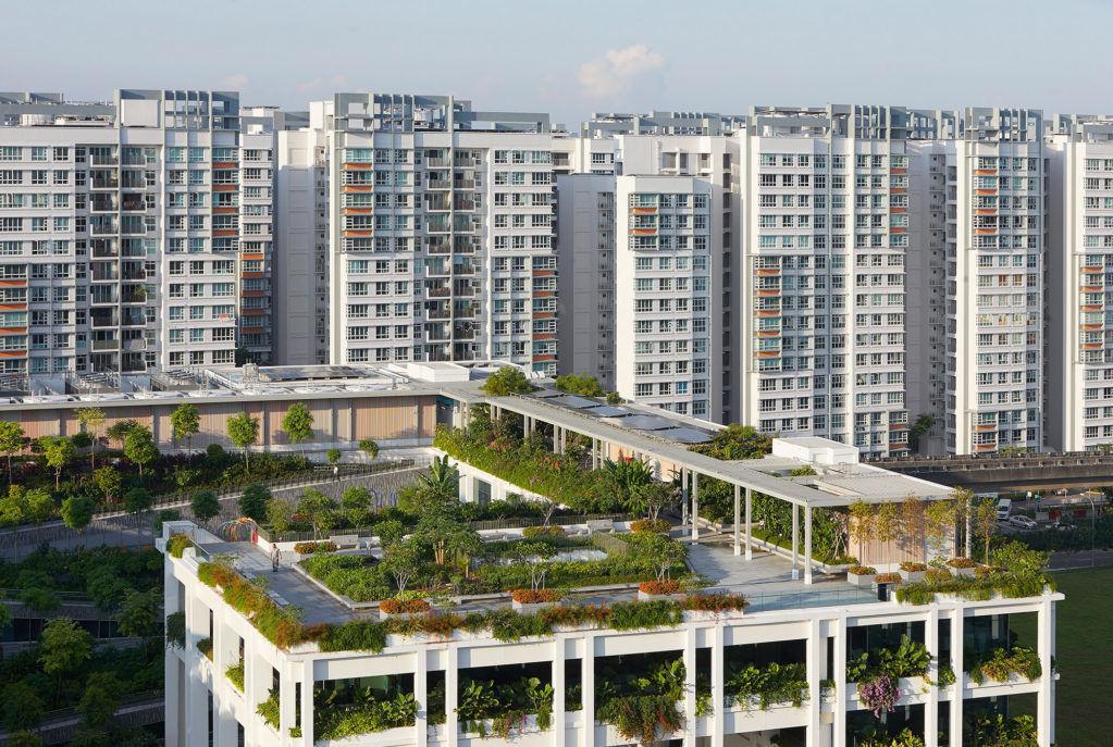 Общественный центр сзелеными террасами вСингапуре