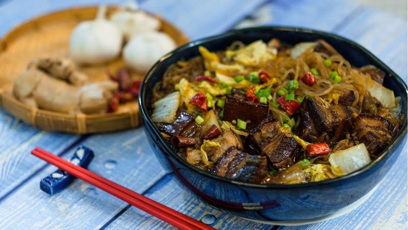 Braised Pork Belly with Vermicelli Noodles (猪肉白菜炖粉条)
