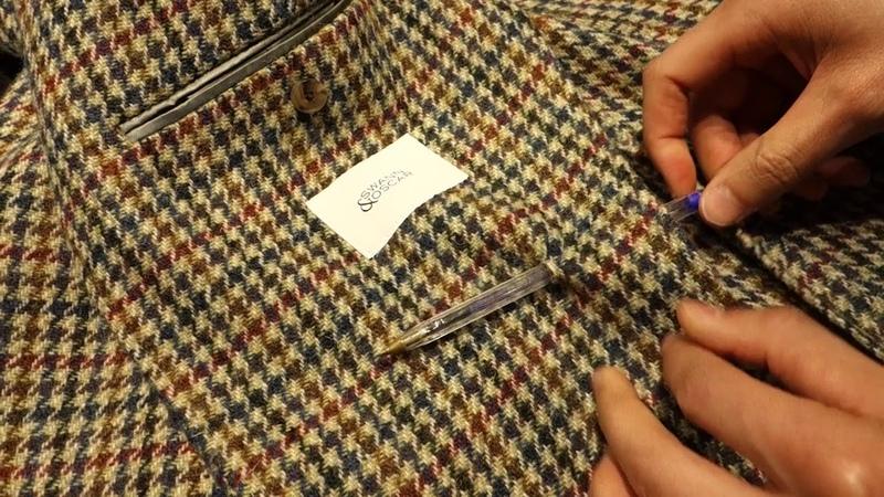 Test du Bic sur une veste Harris Tweed de chez Swann et Oscar