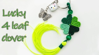 Macrame lucky four leaf clover key chain tutorial - Just bring luck with you - Thắt dây Cỏ bốn lá