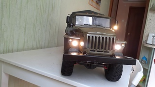 Rc модель Урал 43206 1/10 тест свет + звук. Custom rc build Ural 43206 with LEDs and sound