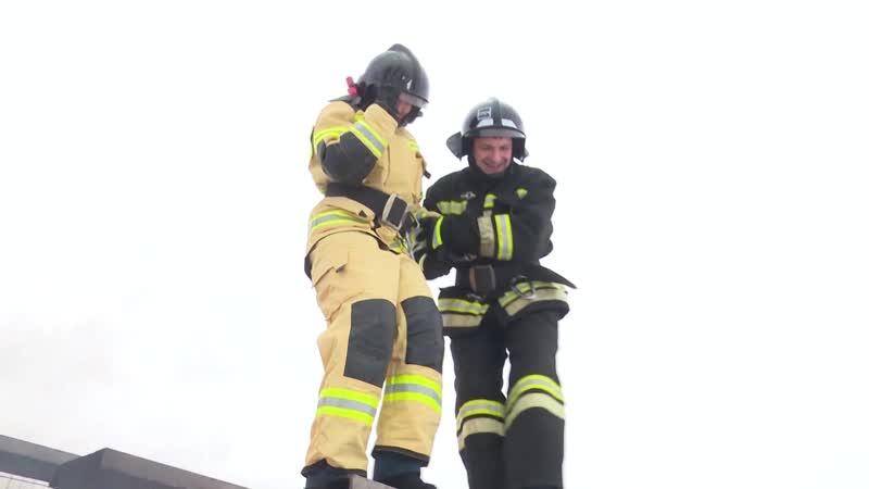 Люба Кобзева тушит пожар
