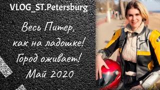 VLOG 67. Самые красивые места Санкт-Петербурга! Город оживает, сакура цветет! Мотопрогулка. Май 2020