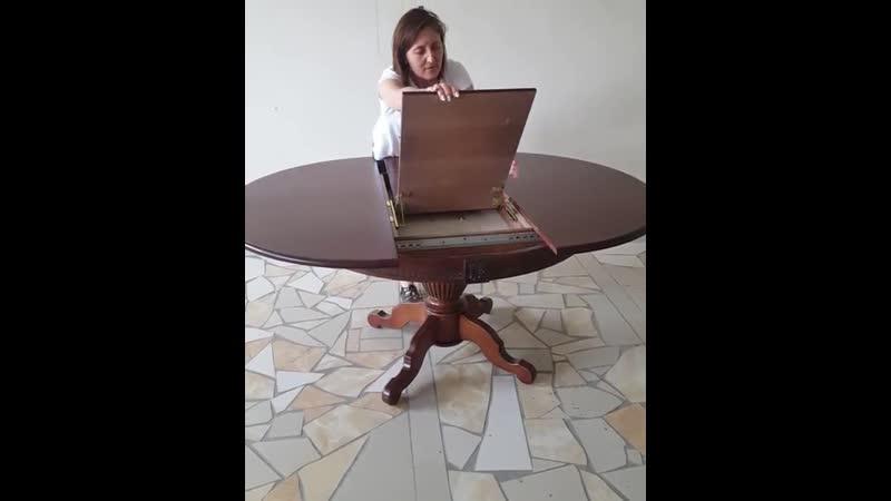 """Круглый стол из массива бука """"Степ120"""" (Орех) Диаметр 120 (+40 ) см. от компании Производитель мебели msad5 - видео 1"""