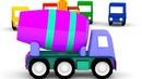 Um caminhão betoneira 4 carros coloridos Desenhos animados para crianças