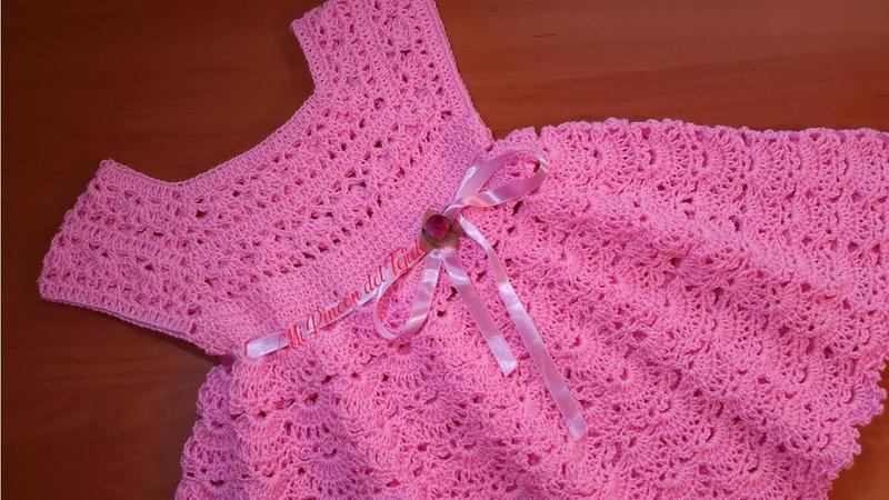 Vestido bebe 3 meses crochet tutorial paso a paso. Parte 1 de 2. Crochet baby dress