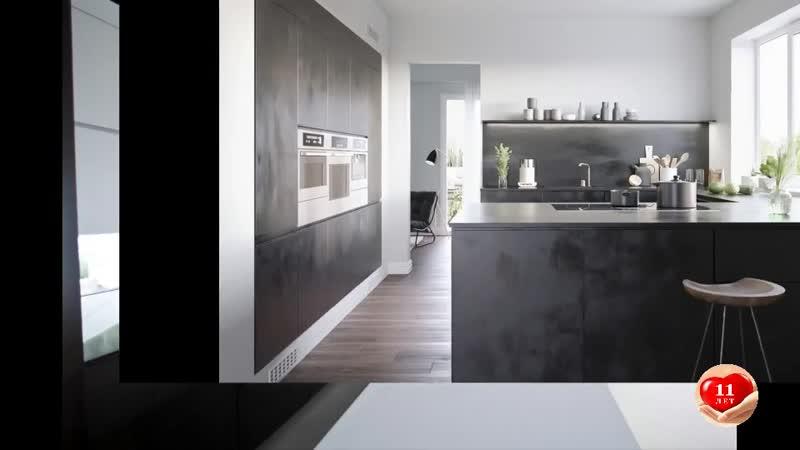 Черно белая Кухня современный дизайн