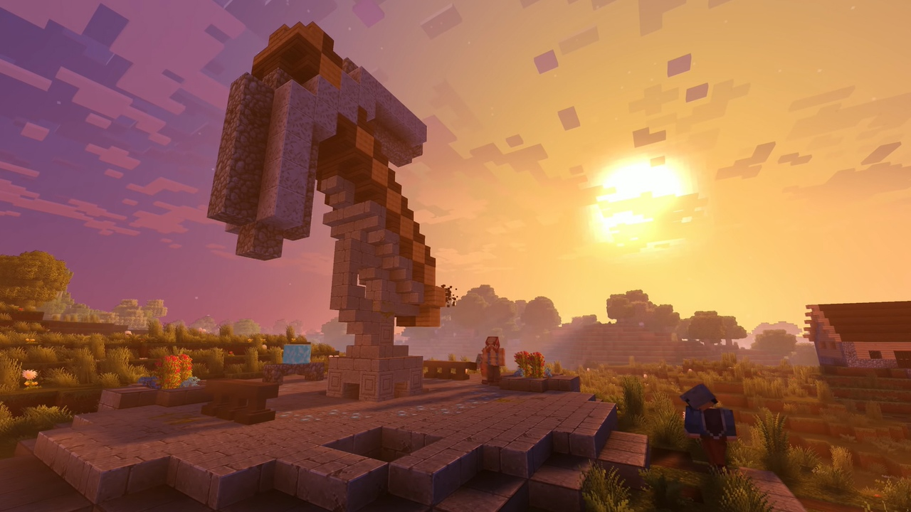 Minecraft закат солнца