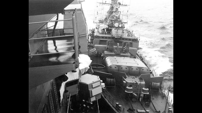 Таран боевых кораблей США сторожевыми кораблями СССР сьёмка с американского судна