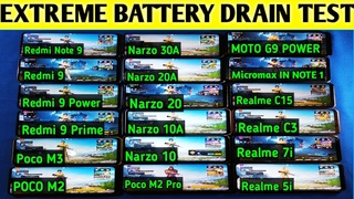 Realme Narzo 30A vs Poco M3 & M2 vs 9 Power/Narzo 20/Moto G9 Power Battery Drain Test 100% - 0%🔥🔥