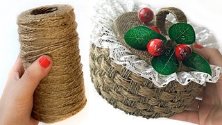 DIY Jute Wicker Basket | Jute and cardboard craft | How to make box