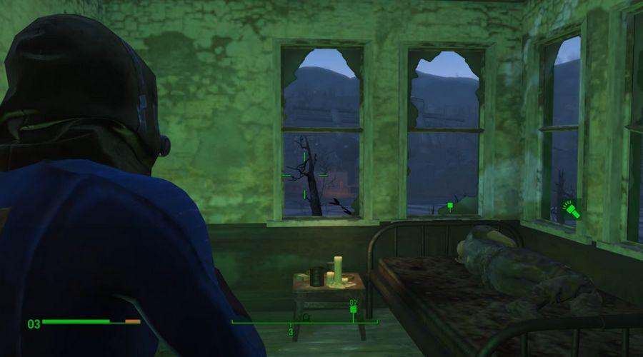 fallout 4 как включить фонарик освещение цветом пип боя