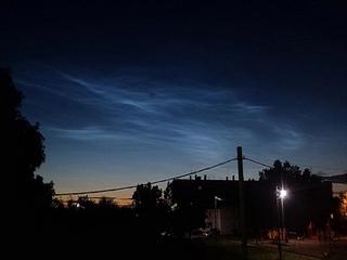 Звёздное небо 2020, серебристые облака, комета и галактика. Яльгелево, Ропша, Ленинградская область.