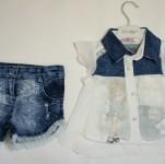 Костюм для девочки (блуза, майка, шорты)