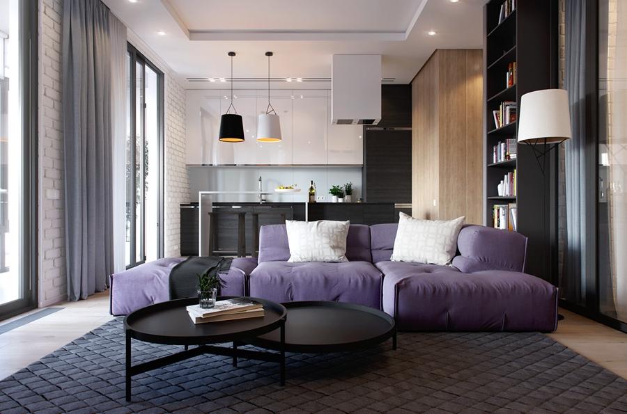 Дизайн-проект квартиры с отдельной спальной зоной, метраж не указан.