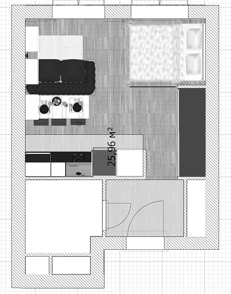 Проект квартиры-студии в стиле лофт 26 кв/м , автор проекта Chupov AV.