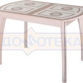 Стол обеденный  Танго ПО-1 МД ст-71 07 ВП МД, молочный дуб, греческий орнамент