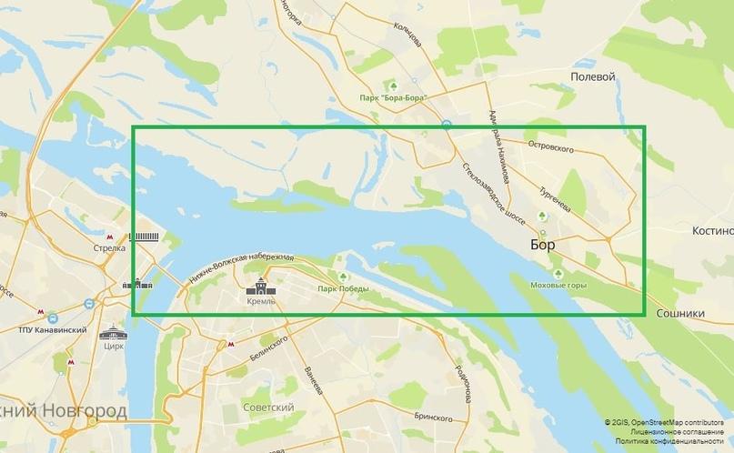 Пойма находится по берегам Волги примерно в этом квадрате