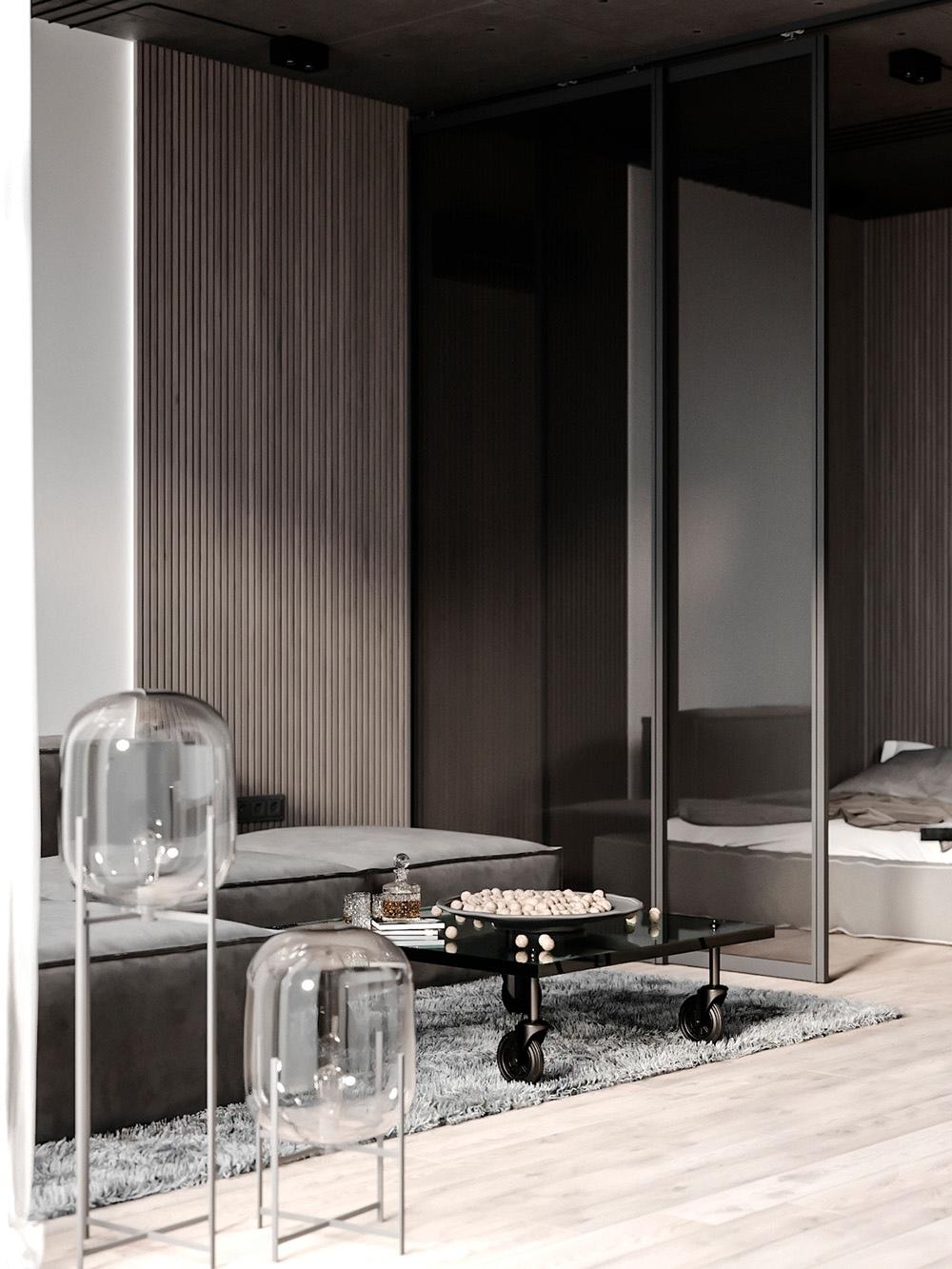 Проект комнаты в квартире-студии от дизайнера Анастасии Перчик.