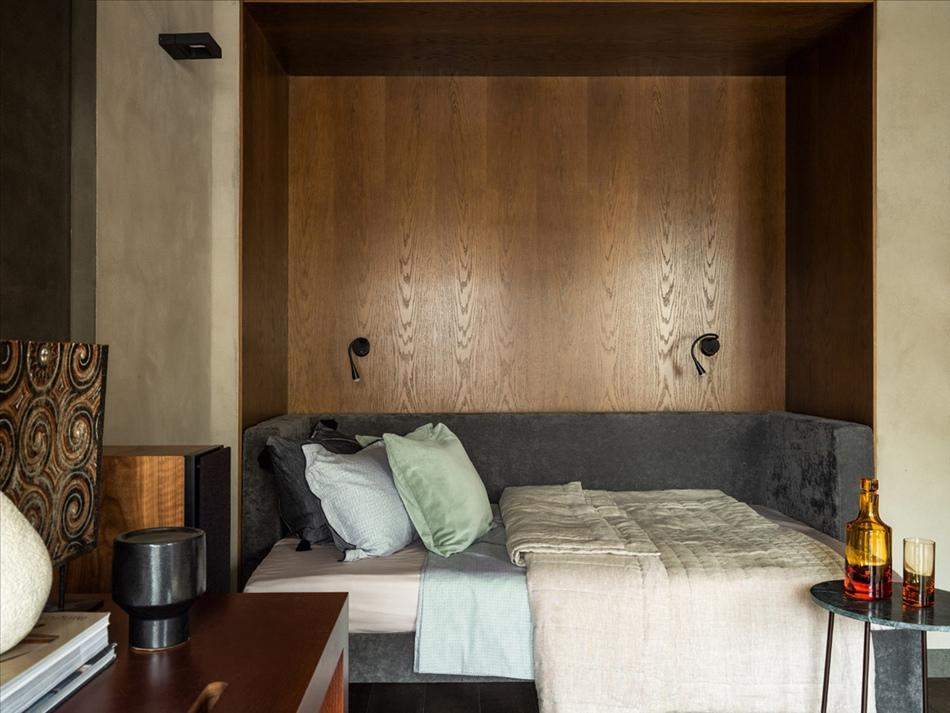Брутальный интерьер квартиры открытой планировки 56 кв.