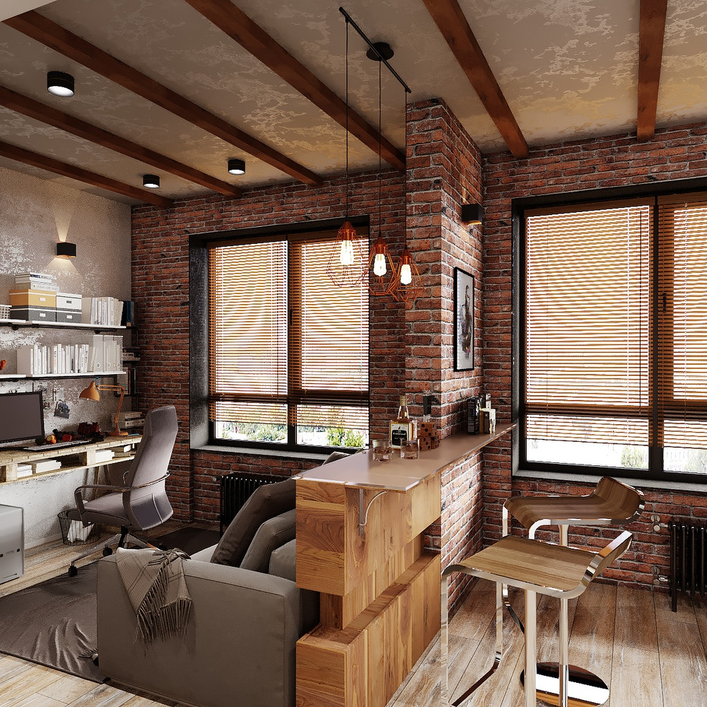 Проект квартиры 37-40 м (на плане и в описании автора разный метраж) в стиле лофт.