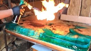 EPOXY TABLE SEA SHORE! ЭПОКСИДНАЯ СМОЛА и Цельная Древесина!  Wood and epoxy resin Artline!
