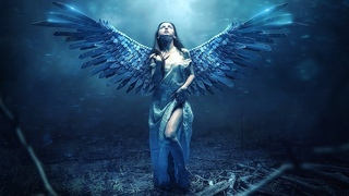 Blue Blade Angel Photo Manipulation Photoshop Tutorial [Blue Light Effect]