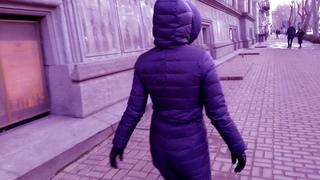 Evening walks in an indigo winter ski suit. Nice and comfortable winter overalls, selfisolation suit