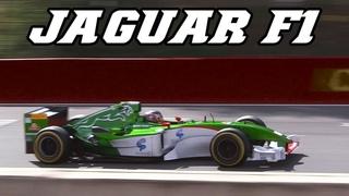 JAGUAR R5 F1 - Screaming V10 at Zolder 2017 (incl. crash)