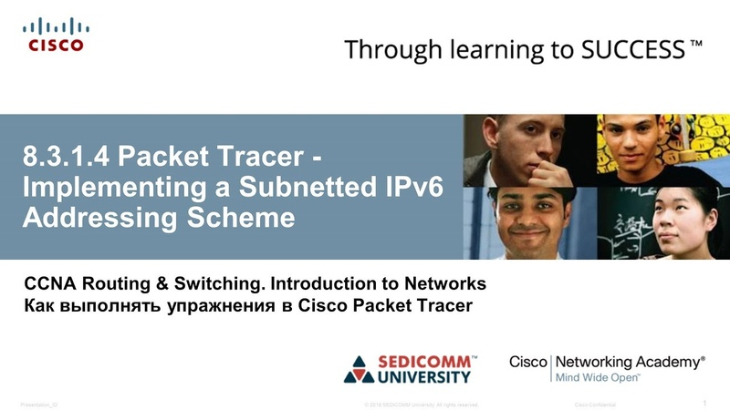 CCNA 1 ITN 8 3 1 4 Packet Tracer Implementing a Subnetted IPv6 Addressing Scheme