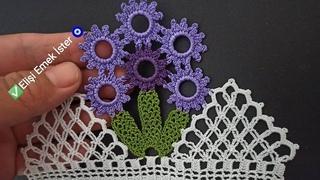 Tığ işi ile Yeni Tasarım  Kolay Halkalı Çeyizlik Havlu Kenarı Modeli
